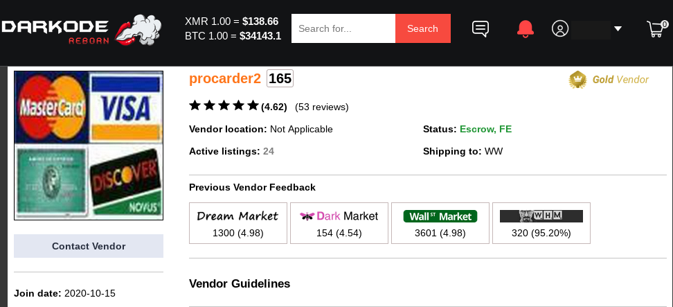 Interview with Procarder2, a Darknet Vendor Specializing in Stolen Credit Card Data
